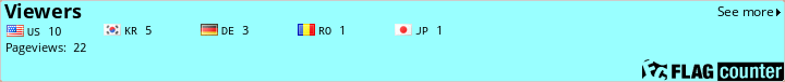 http://flagcounter.com/count/UKQ/bg=99FFFF/txt=000000/border=CCCCCC/columns=8/maxflags=150/viewers=1/labels=1/pageviews=1/